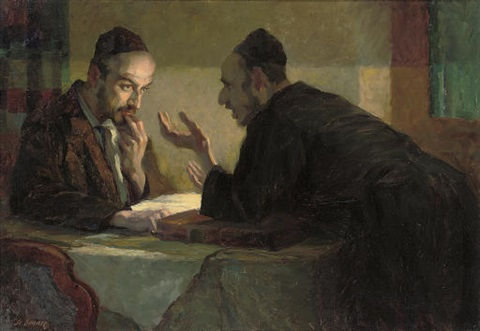 stanislaus-bender-studying-the-talmud-by-lamplight