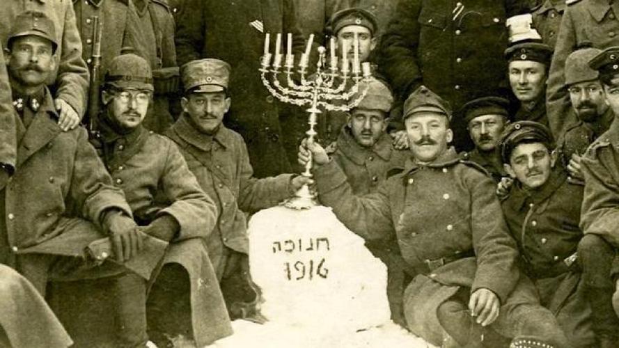 Jewish soldiers of the German Army celebrating Hanukkah during WWI, 1916